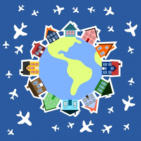 World travel concept - planes around globe. Global community - earth and houses. World with buildings illustration. Vector