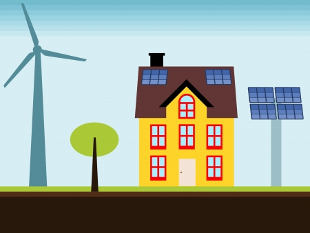 Eco home - property with self sustainable renewable energy sources. Wind turbine and solar power panels. Stock Vector - 17688482