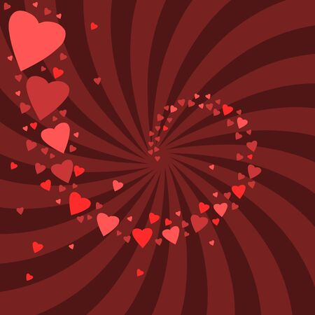Romantic celebration background for Valentine's Day. Hearts and concentric rays backdrop. Love whirl. Stock Vector - 17688504