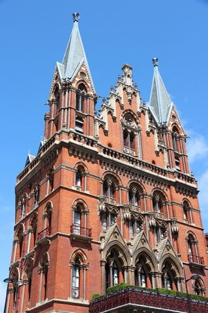 pancras: London, United Kingdom - famous St. Pancras railway station building