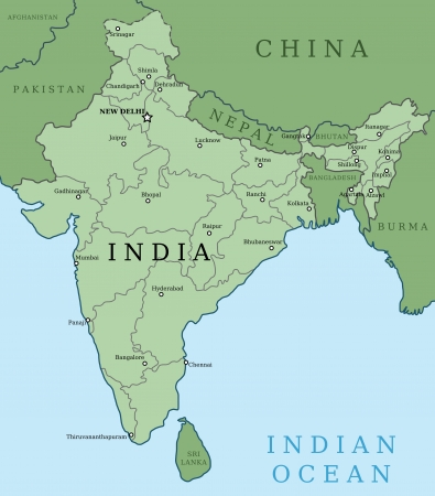 municipalities: Map of India. Outline illustration country map with major cities (state capitals).