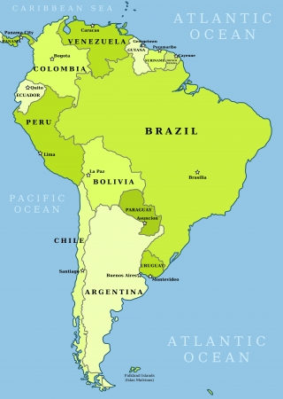 Map of South America. Political division - countries and capital ciites. Countries are separate objects, you can change color of every country. Vector