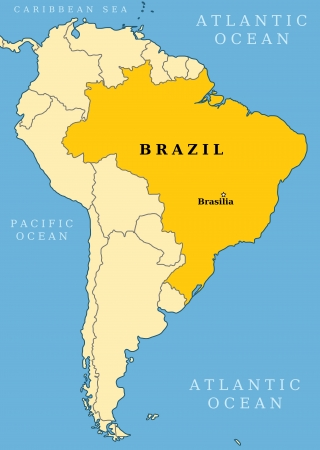 Brazil locator map - country and capital city Brasilia. Map of South America. Vector