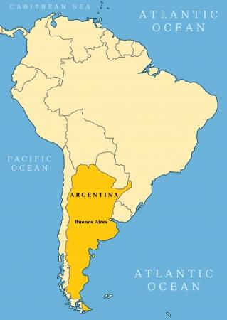 buenos aires: Argentinien Locator-Karte - Land und Hauptstadt Buenos Aires. Karte von S�damerika.