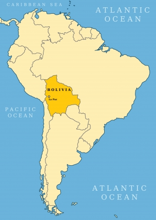 political division: Bolivia locator map - country and capital city La Paz. Map of South America.