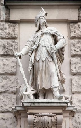chieftain: Vienna, Austria - statue in Neue Burg (part of Hofburg palace) facade. Sculpture depicts Magyar or Hungarian chieftain. Stock Photo