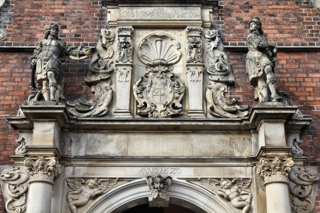 architectural feature: Copenhagen Old Town architectural feature. Church of the Holy Spirit. Capital city of Denmark. Oresund region.