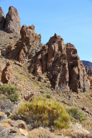 Tenerife, Canary Islands, Spain. Roques de Garcia - rock formations in volcano Teide National Park photo