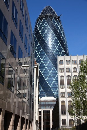 30 st mary axe: LONDON - MAY 13: View of 30 St Mary Axe building on May 13, 2012 in London. It was built in 2003 and is among top 10 tallest London buildings (180m tall).
