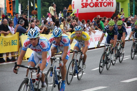prestigious: KATOWICE, POLAND - AUGUST 2: Cyclists ride stage 3 of Tour de Pologne bicycle race on August 2, 2011 in Katowice, Poland. TdP is part of prestigious UCI World Tour.