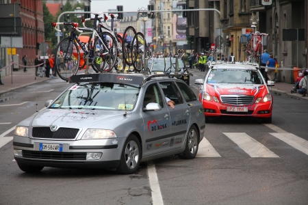 ceramica: KATOWICE, POLAND - AUGUST 2: Team vehicle on the route of Tour de Pologne bicycle race on August 2, 2011 in Katowice, Poland. TdP is part of prestigious UCI World Tour. Skoda Superb of De Rosa Ceramica Flaminia team. Editorial