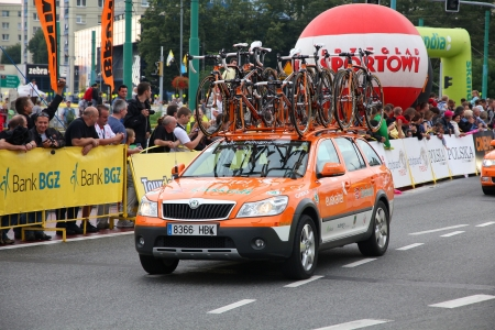 KATOWICE, POLAND - AUGUST 2: Team vehicle on the route of Tour de Pologne bicycle race on August 2, 2011 in Katowice, Poland. TdP is part of prestigious UCI World Tour. Skoda Octavia of Euskatel Euskadi team.