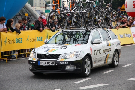 htc: KATOWICE, POLAND - AUGUST 2: Team vehicle on the route of Tour de Pologne bicycle race on August 2, 2011 in Katowice, Poland. TdP is part of prestigious UCI World Tour. Skoda Octavia of HTC Highroad team.