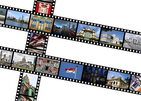 Singapore, metropolis in Asia. Illustration - film strips with travel memories. All photos taken by me, available also separately.