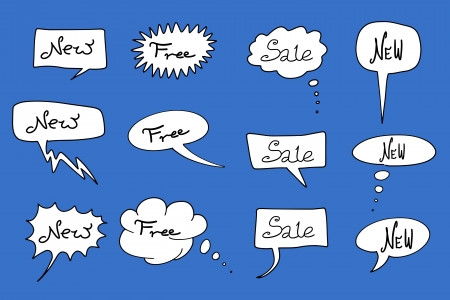 New and sale signs - commercial shopping messages. Comic speech bubbles set. Stock Vector - 17965591