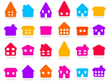 Home icon set - colorful house rounded icon collection. Illustration group. Private residential architecture. Stock Vector - 18006319