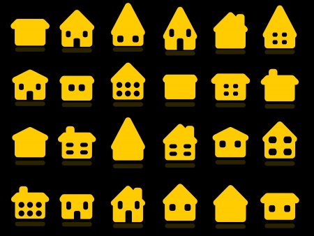 Home icon set - yellow house rounded icon collection. Illustration group. Private residential architecture. Stock Vector - 18006318