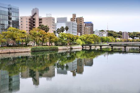 honshu: Hiroshima city in Chugoku region of Japan (Honshu Island). Modern skyscraper skyline. Stock Photo