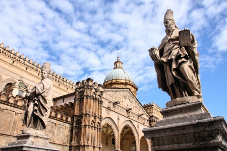 Palermo, Sicily island in Italy. Famous cathedral church and statues of saints. Saint Augustine of Canterbury on the right. Stock Photo - 18049862