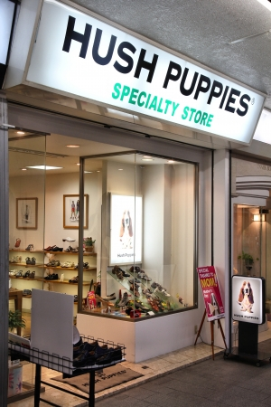 OKAYAMA, JAPAN - APRIL 22: Hush Puppies footwear store on April 22, 2012 in Okayama, Japan. Hush Puppies sells shoes in 120 countries. It was founded in 1958. Stock Photo - 18144645