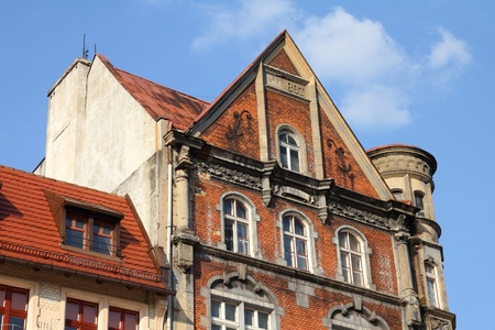tenement: Bytom, Silesia region in Poland. Architecture in the city square (Rynek).