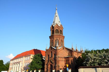 wielkopolska: Poland - city view in Konin. Greater Poland province (Wielkopolska). Old brick church.