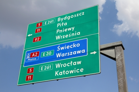 pila: Directions sign in Poland showing directions to major city by national roads and a highway: Bydgoszcz, Pila, Warsaw, Wroclaw and Katowice. Editorial