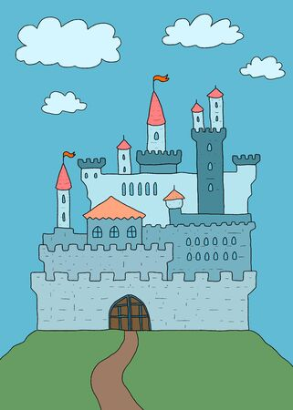 fortified: Cartoon castle illustration - old medieval landmark with fortified walls and flags Illustration