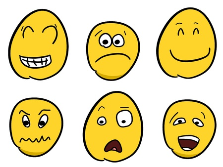 moods: Smiley faces - cartoon emoticon expressions. Happy, angry and confused balls. Illustration