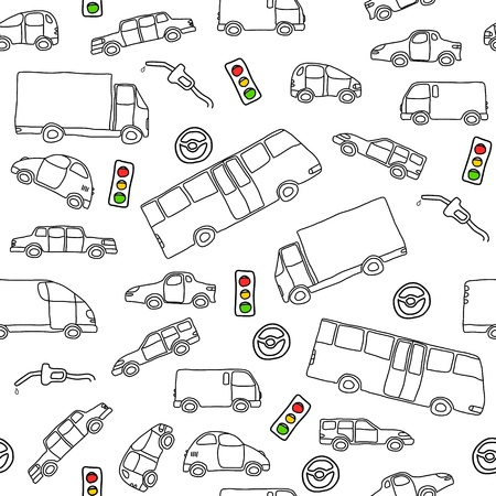 Doodle seamless background texture illustration - vehicle collection with cars, vans, trucks and a bus Vector