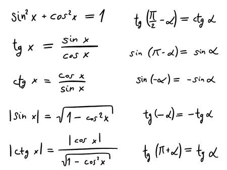 indeterminate: Hand written doodle illustration - Trigonometric functions
