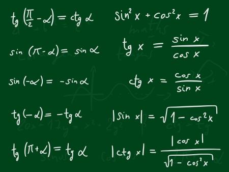 indeterminate: Hand written doodle illustration - Trigonometric functions.