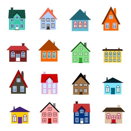case moderne: Casa set - colorata collezione di icone casa Vettoriali