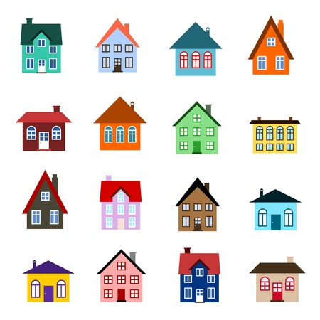 town house: House set - colourful home icon collection