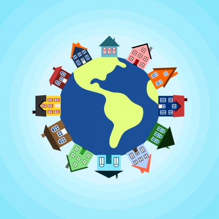 Global community - earth and houses. Vector