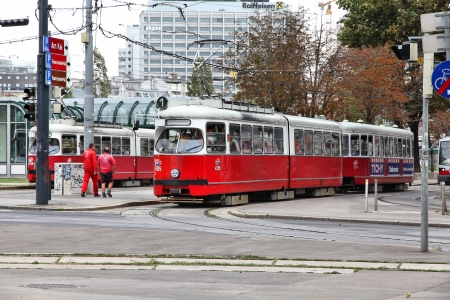 VIENNA - SEPTEMBER 7: Commuters ride a tram on September 7, 2011 in Vienna. With 172km total length, Vienna Tram network is among largest in the world. In 2009 186.9m passengers used Vienna trams.