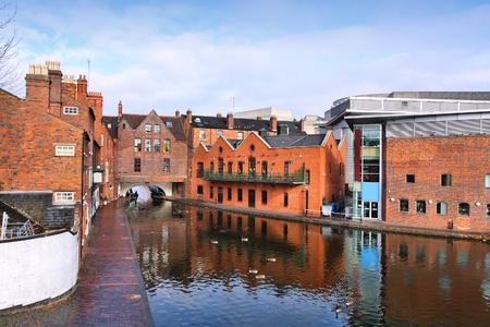 midlands: Birmingham water canal network - famous Gas Street Basin. West Midlands, England.
