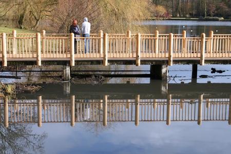 midlands: Birmingham park - Edgbaston pool in Edgbaston park. West Midlands, England.