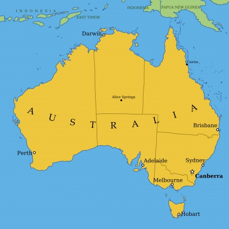 Map of Australia with all important cities and administrative division into states Vector