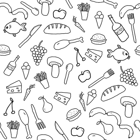 Seamless pattern with food and beverage icons and symbols. Cuisine background doodle. Vetores