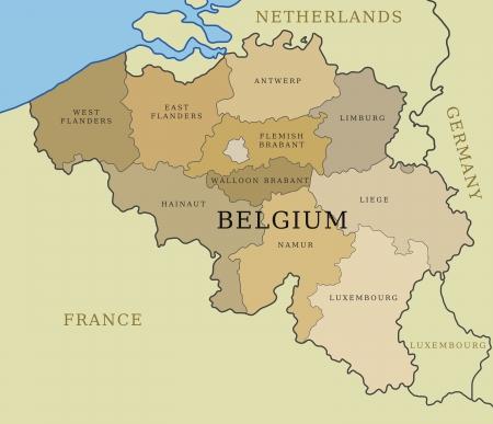 limburg: Belgium map with administrative division into provinces. Illustration