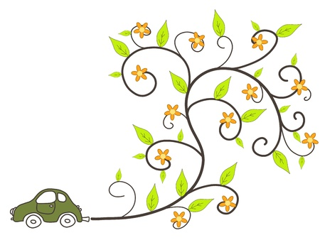emissions: Green car - environmentally friendly low emissions vehicle with floral ornament coming out of exhaust. Eco concept. Illustration
