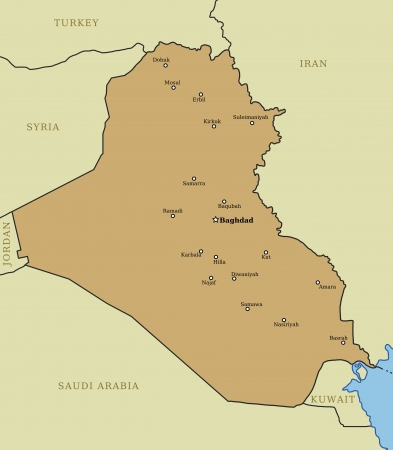 municipalities: Iraq map with major cities: Baghdad, Mosul, Basrah, Arbil and others