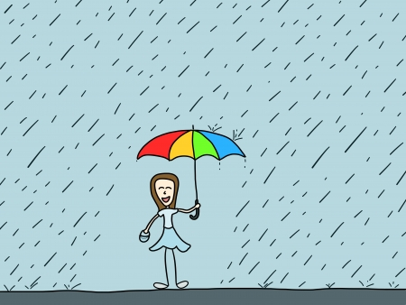 Cartoon doodle illustration - happy woman in the rain. Rainy weather. Vector
