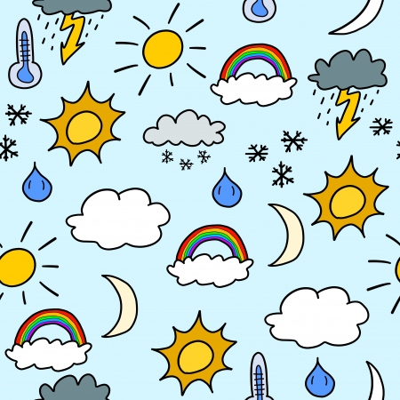 suns: Doodle seamless background texture illustration - weather symbols collection with suns, clouds, storms and snow Illustration