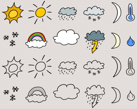 suns: Doodle icon set illustration - weather symbols collection with suns, clouds, storms and snow