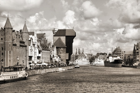 nas: Poland - Gdansk city (also know nas Danzig) in Pomerania region. Old town view with Motlawa river and famous Crane.