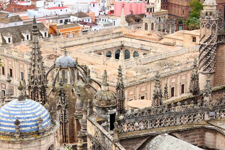 archive site: Seville, Spain - aerial view of the cathedral and General Archive of Indies