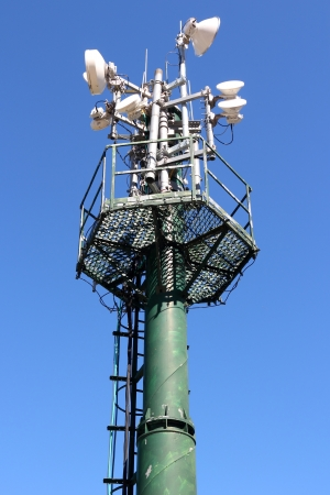 Telecommunications equipment - directional mobile phone antenna dishes. Wireless communication. photo