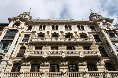 Mediterranean architecture in Spain  Old apartment buildings in famous Calle Mayor in Madrid
